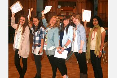 Girls celebrate their excellent GCSE results