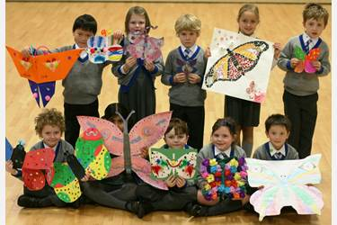 Beech House pupils made brightly coloured paper butterflies