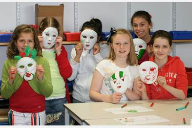 Girls made Venetian masks