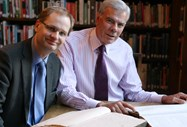 Eric Fairweather, Archivist and Philip Britton, Head, examine Lever