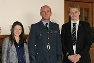 Group Captain Northover with two of the Sixth Form pupils