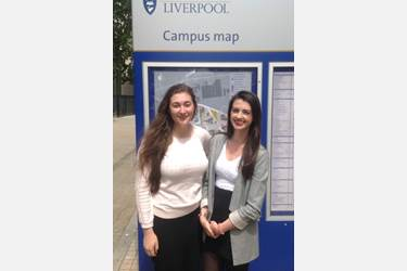 Lydia Hounat and Natasha Hall at Liverpool University