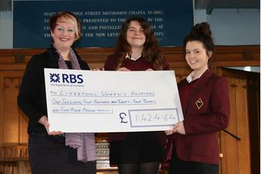 Gail Naylor received the cheque from two Year 10 girls