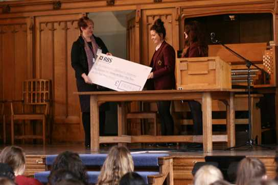The cheque was handed over as part of the morning assembly