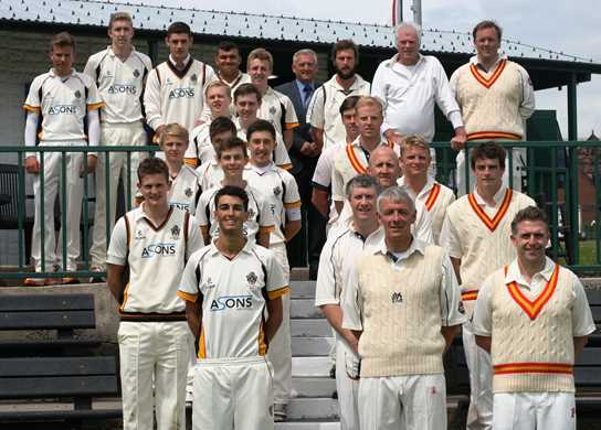 The two teams prior to the lunch break, the MCC having recorded a score of 204-3 declared
