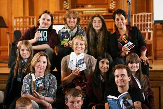 The shortlisted authors with some of the Year 7 and 8 pupils who attended the Awards Ceremony