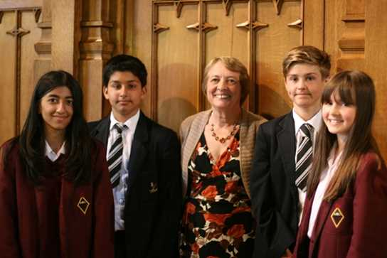 Bolton Children's Ficton Award Winner Gillian Cross with some Bolton School pupils