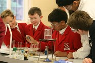Boys add a chemical to a solution of melted Jelly Babies