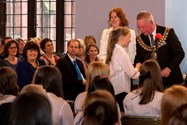 The Mayor and Miss Hincks congratulated girls on their awards