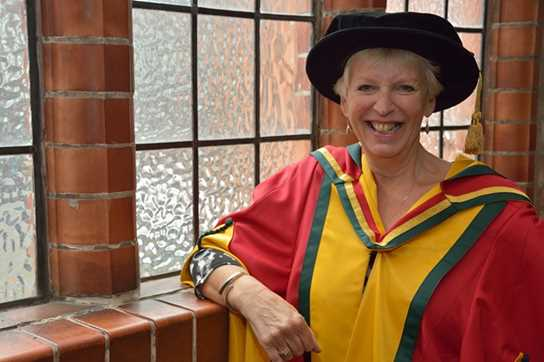 Former Girls' Division Headmistress, Gill Richards, in her University of Bolton robes