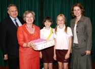 Mrs Critchley was presented with gifts from pupils and staff to say goodbye and thank you