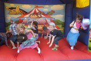 The bouncy castle was lots of fun!