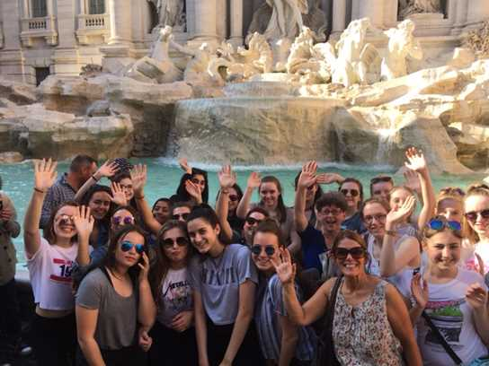 Pupils at the Trevi Fountain in Rome
