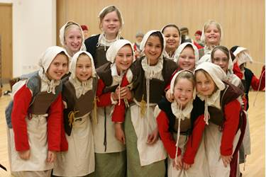 The girls had fun dressing up in traditional Tudor peasant costume
