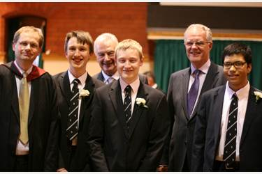Sir Malcolm Williamson is welcomed to Bolton School