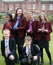 Pupils from the Girls Division and the Junior Boys School take part in a Bad Tie Day for Bolton Hospice