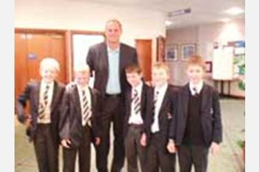 Sir Steve Redgrave hands out medals to the boys