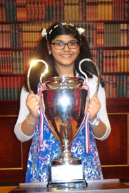Sharon with the Child Genius 2014 trophy