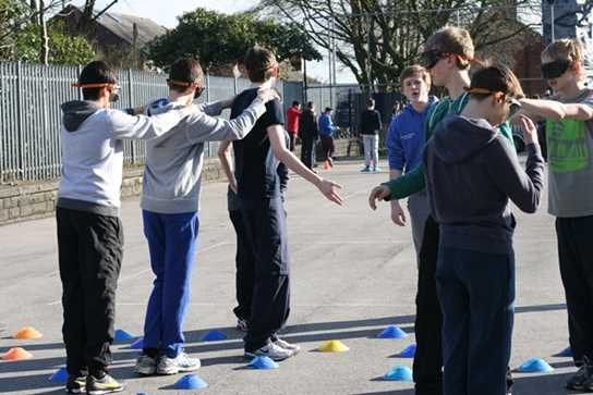 Which way - blindfolded boys need help navigating a minefield
