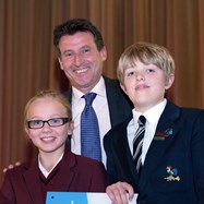 Lord Sebastian Coe and Bolton School Junior School pupils