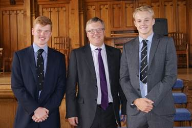 Old Boy Barry Nightingale with two of the Sixth Form boys