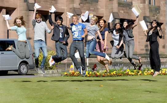 GCSE students jump for joy