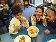 Pupils learn about and prepare worldwide food