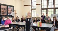 The A Level Art students with Olivia before the talk