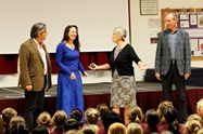 Mrs Brierley enlisted the help of three parents for assembly