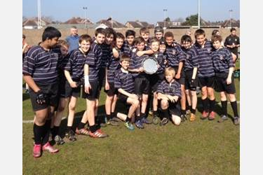 The U13s celebrate their Lancashire Plate victory