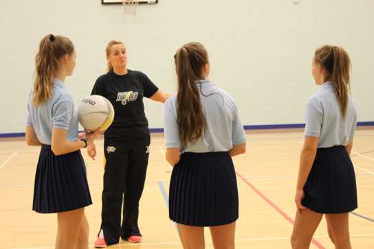 Tracey Neville and Manchester High School for Girls pupils