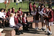 Year 6 girls recited poetry
