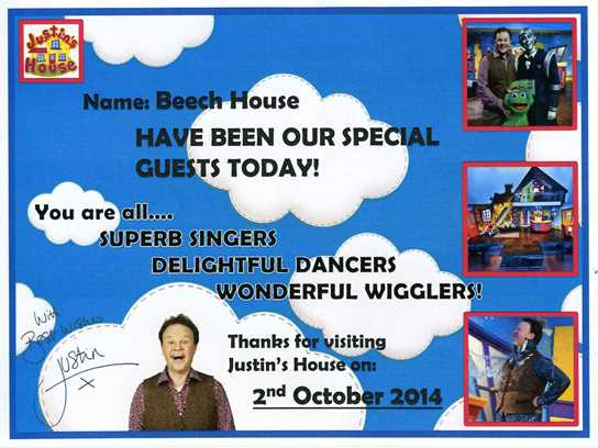 The certificate that Beech House Year 1 children received after their visit to the CBeebies studio