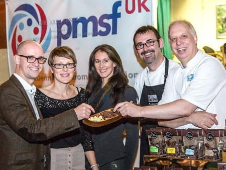 Andrew Kay and Kathryn Kay, Natalie Seymour, Paul Williams and Mike Harrison sample the Choc Amor petit fours