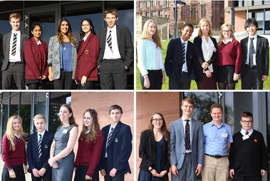 Alumni, clockwise from top left: Shakti Patel, Rachel Egan, Jamie Laundon, and Amy Williams, pictured with pupils