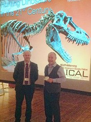 Professor Manning (right) pictured with Dr Procter after the talk