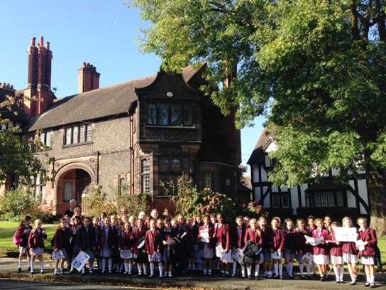 The Junior Girls take a walk through the village of Port Sunlight