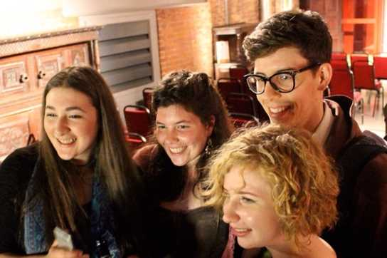 Lydia (far left) with the other Writing Squad performers at the Anthony Burgess Centre