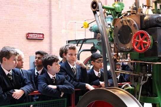 The boys were fascinated by the Sissons Steam Laboratory Engine