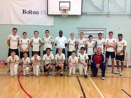 Ottis Gibson with the Bolton School elite cricketers
