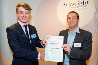 Chris Batterbee accepts his certificate from Dr Jos Martin, Software Development Manager at Mathworks