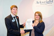 NSG Group / Pilkington Group Ltd representative Miss Toni Hines presents Alex Seed with his certificate