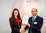 Dr Waleed Al-Nuaimy of the University of Liverpool presents Bethany with her certificate
