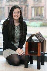 Bethany with the birdhouse project that helped win her the Arkwright Scholarship