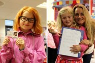 Two girls chose to dress up as their teachers