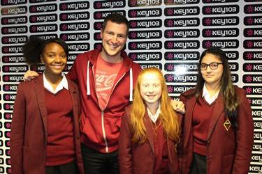 Aleica, Madeleine and Haleemah with Adam Catterall at Key 103