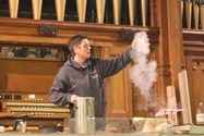 Dr Heath showed the audience experiments with liquid nitrogen