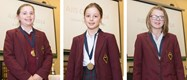The three girls who won medals: Lucy, Ariella and Amelia
