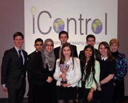 The judges with the winning team, iControl (see below for details)