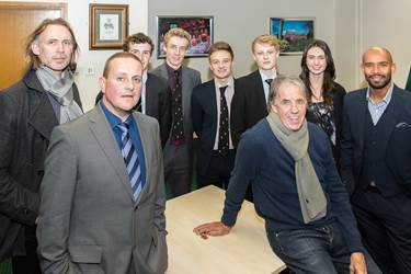 Mark Lawrenson, Trevor Sinclair and Darren Peacock at Bolton School